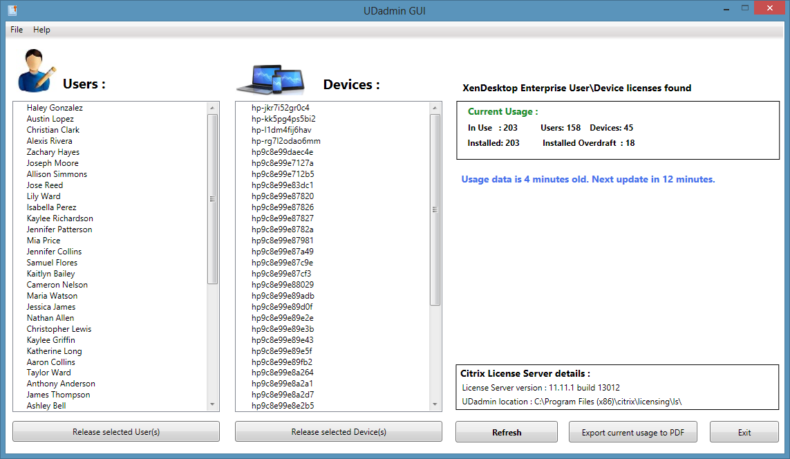 UDadmin GUI a free tool to manage XenDesktop User\Device