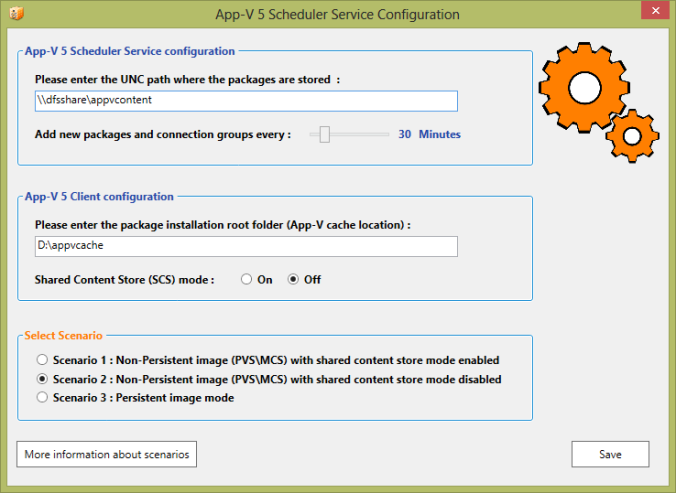 App-V 5 Scheduler Service dialog