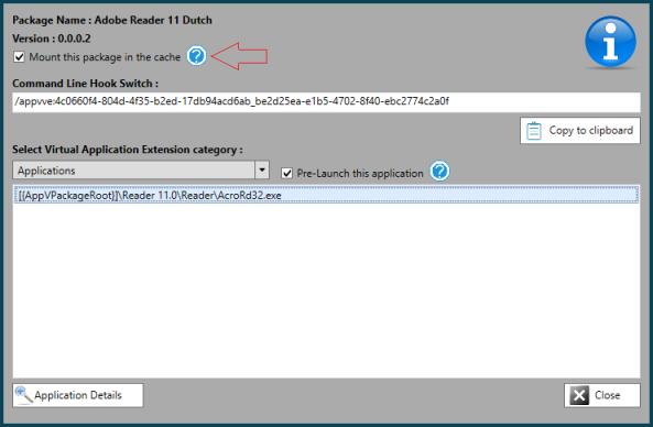 App-V Scheduler 2.1 Package Details Mount Selected package