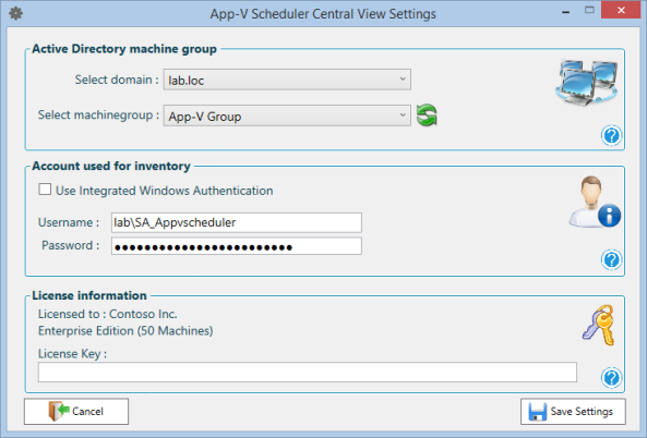 App-V Scheduler Central View Configuration Window